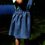 Girl's linen pinafore dress/tie back dress/skirt/linen skirt/skirt with straps/linen clothing