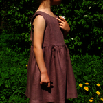 Girl's linen sleeveless dress/linen dress/linen clothing